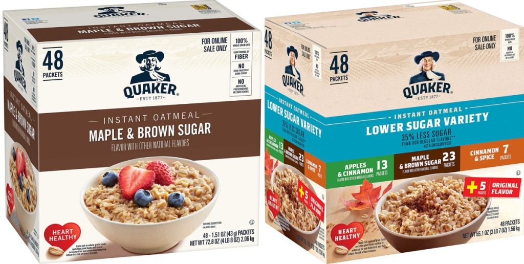2 boxes of quaker instant oatmeal