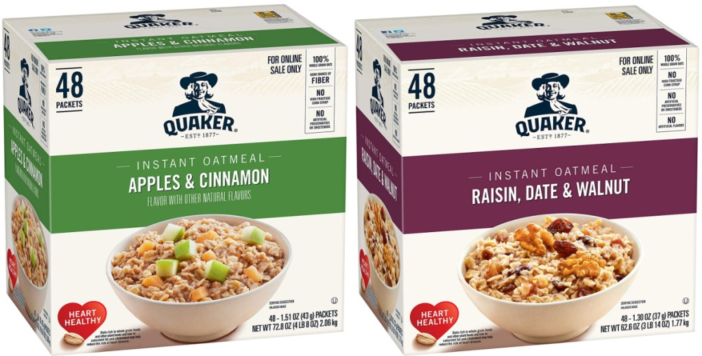2 large boxes of quaker instant oatmeal packets