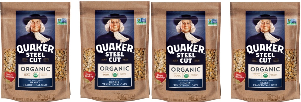Quaker brand oats in four bags