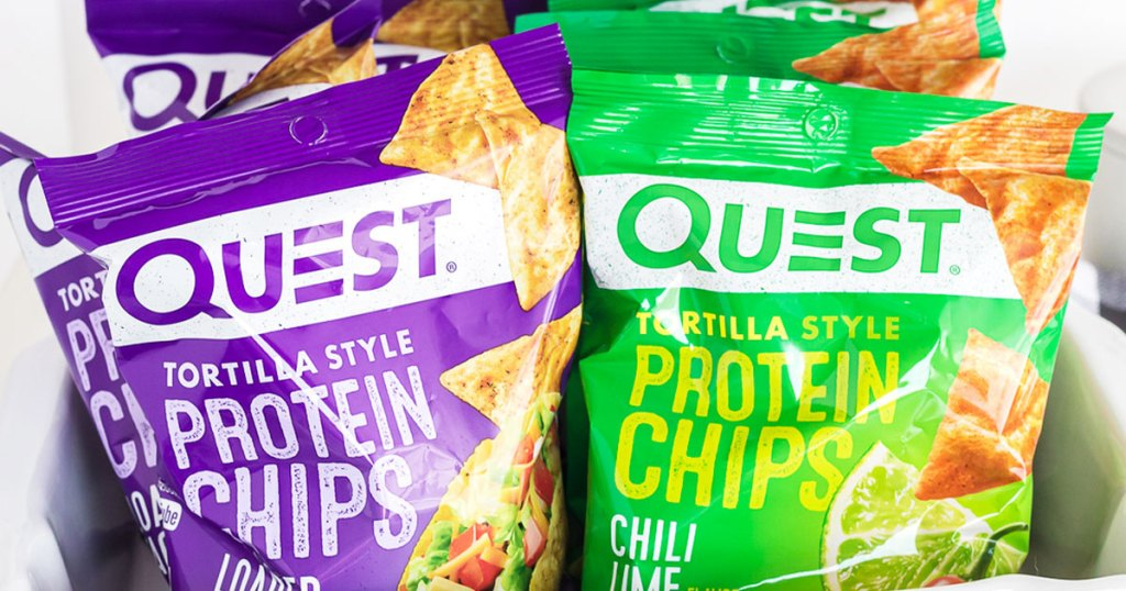 purple and green bags of quest protein tortilla chips