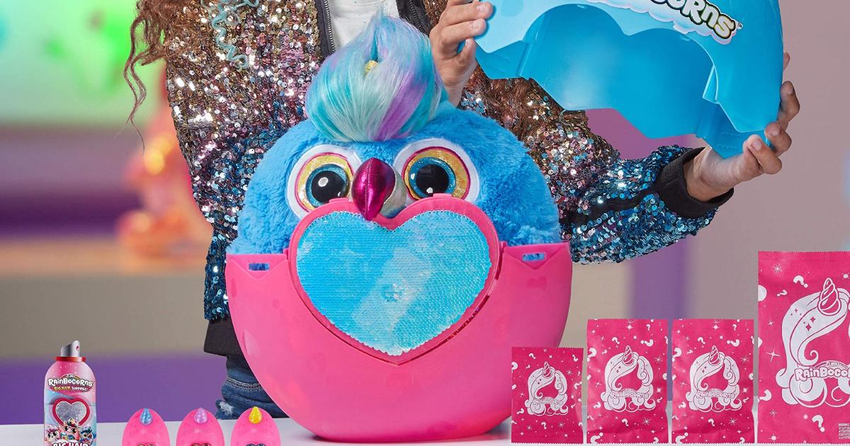 Rainbocorns Big Hair Surprise Toucan sitting inside a bright pink egg