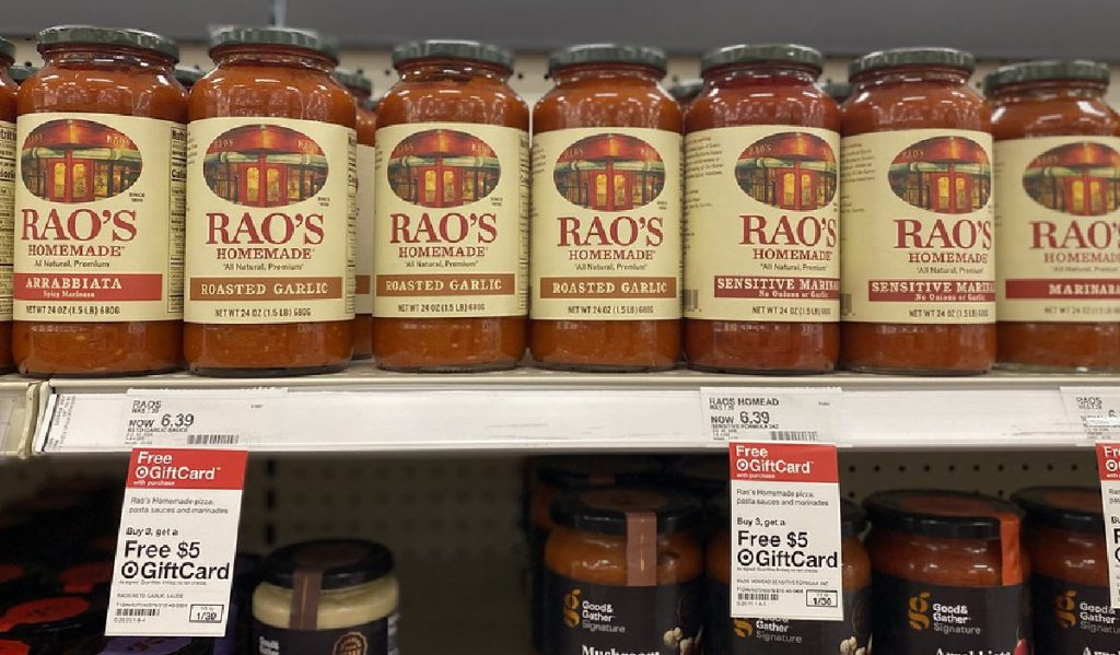 various flavors of pasta sauce on store shelf