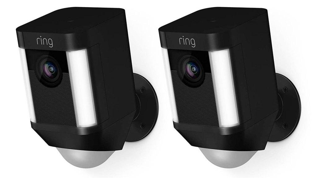 two black ring spotlight security cameras
