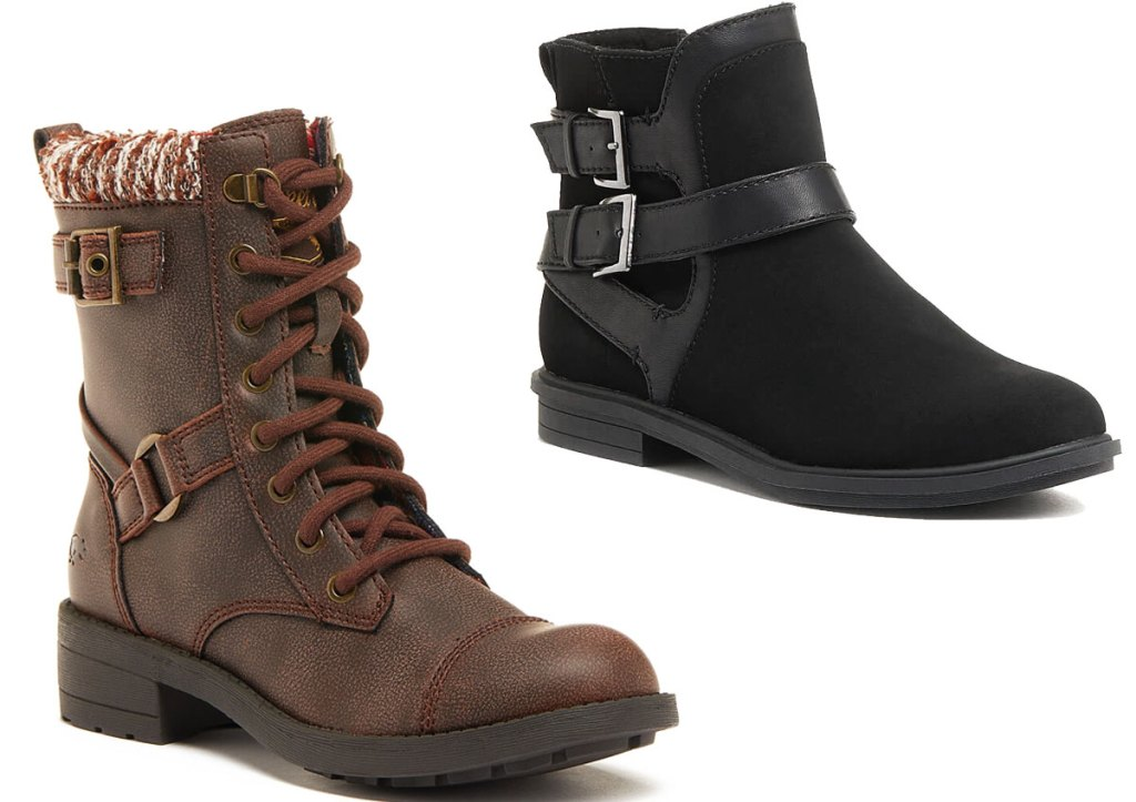 two pairs of women's rocket dog boots in brown with knit details at cuff and black booties with two buckles