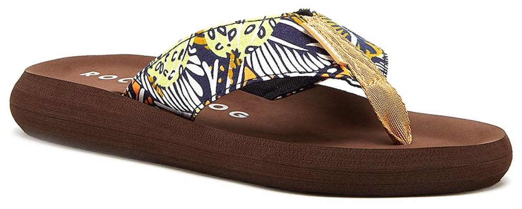 brown rocket dog flip flop with tropical print on strap