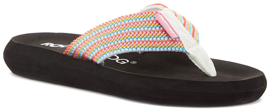 rocket dog flip flop with colorful stripes on strap