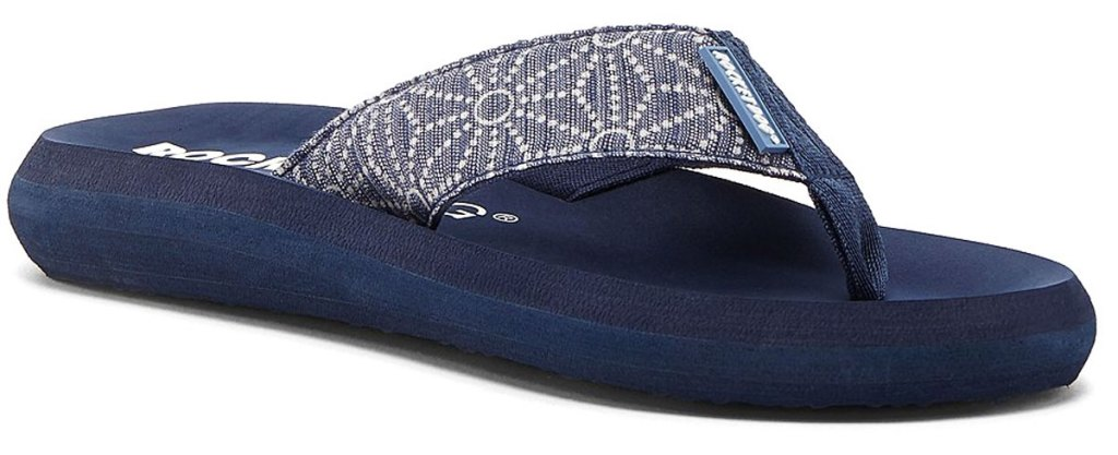 blue rocket dog flip flop with floral pattern on strap