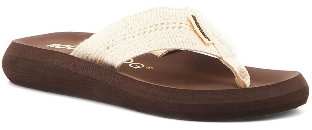 brown rocket dog flip flop with white crochet strap