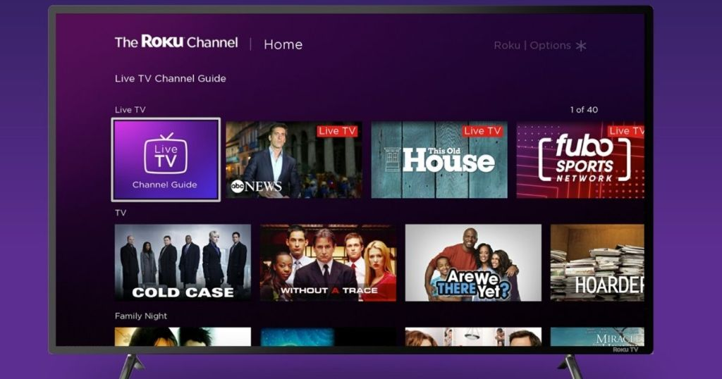 Roku TV with the Roku channel displayed