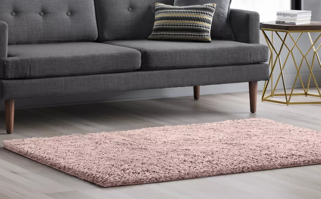 rug on the floor by a couch