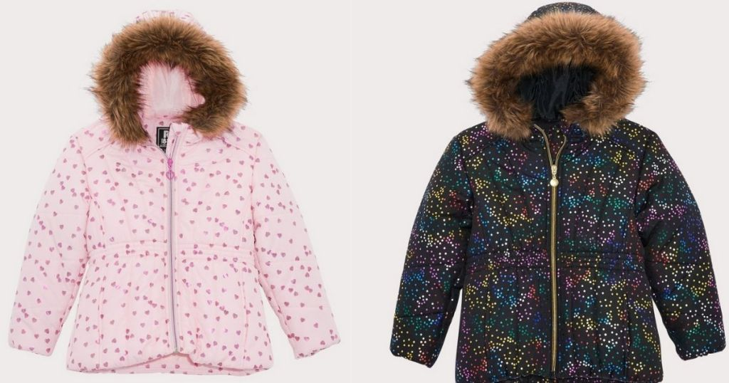 pink with hearts and black with rainbow hearts puffer coat