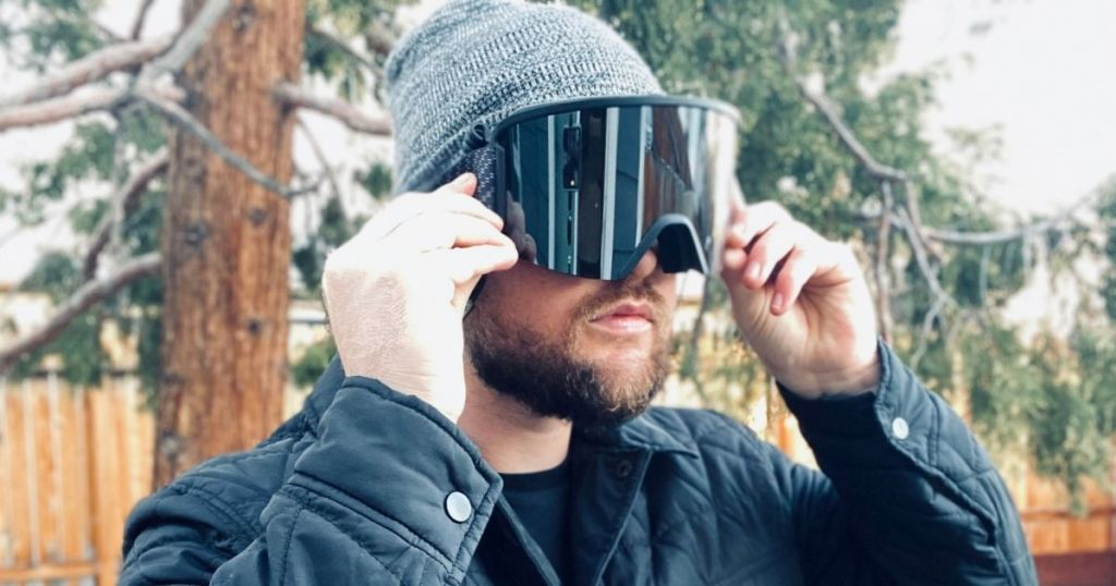man wearing a pair of ski goggles