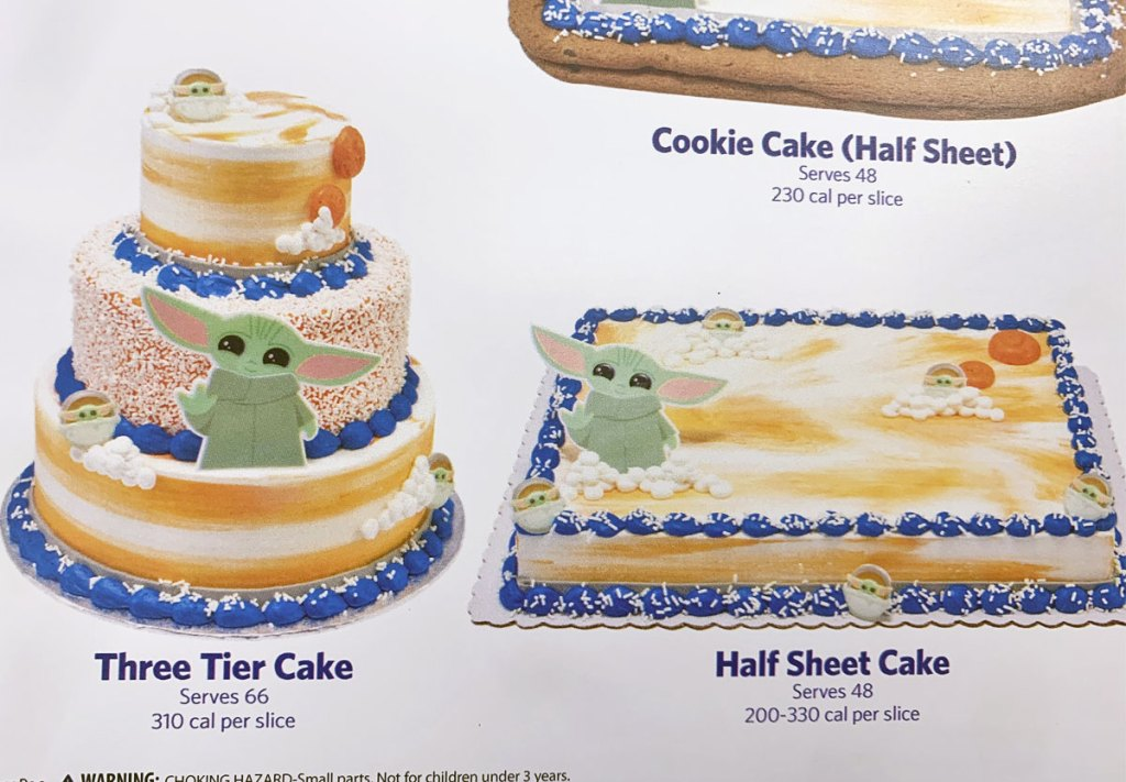 three-tier and half sheet cakes decorated with baby yoda