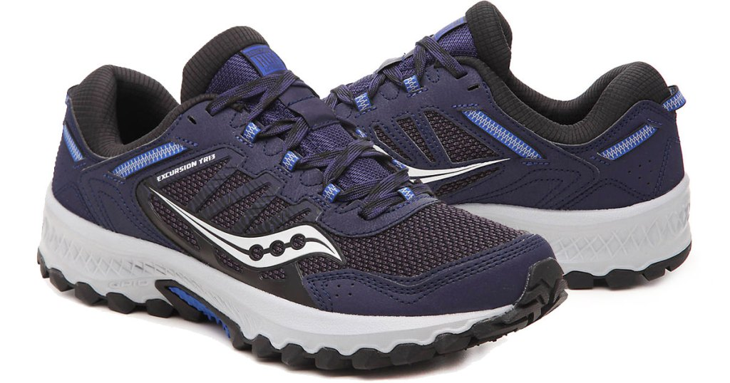 pair of navy and black running shoe with light grey accents