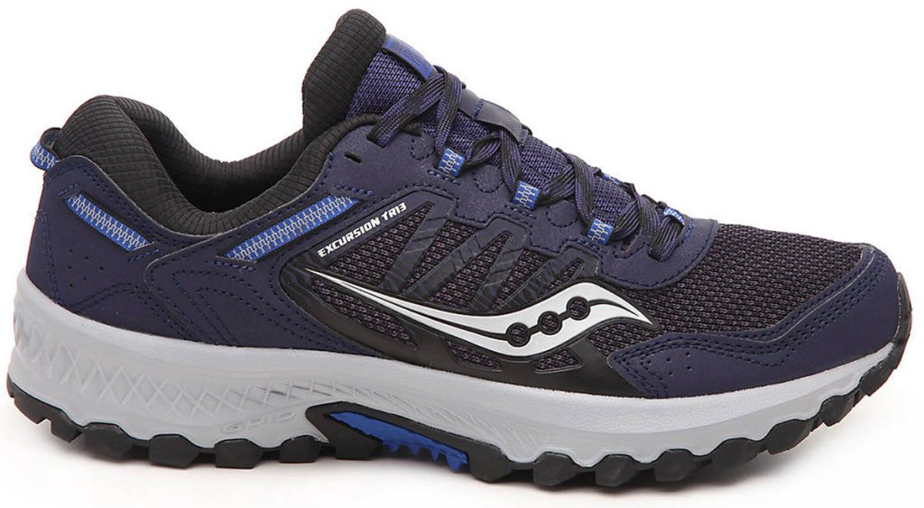 navy and black running shoe with light grey accents