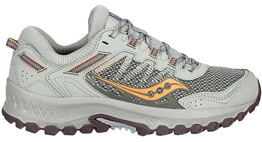 light grey running shoe with coral colored accents