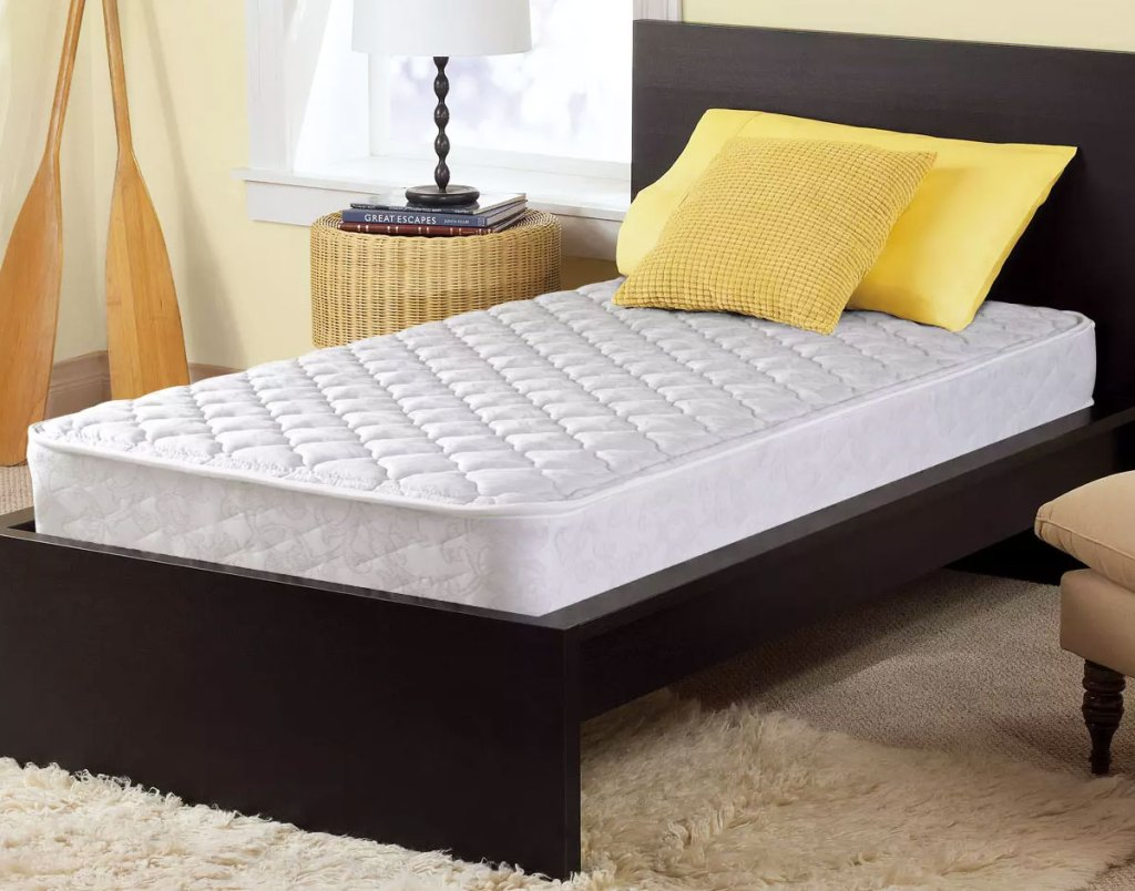 twin size mattress on a black bed frame in a bedroom