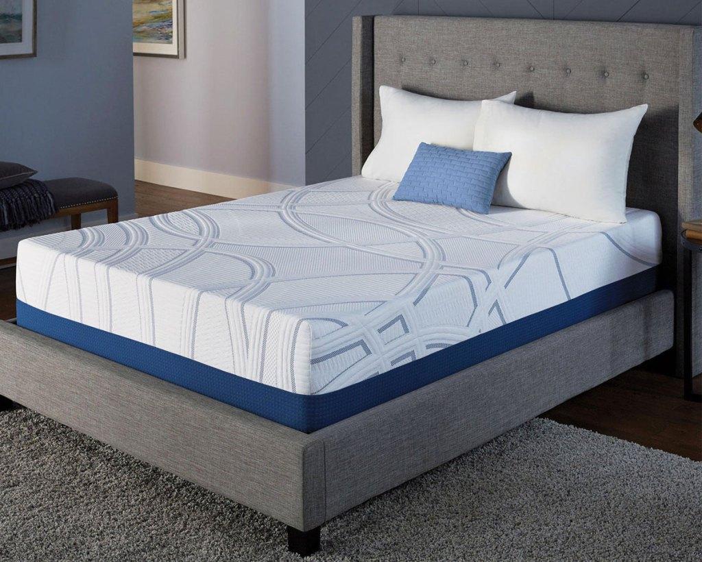 swirled memory foam mattress on a grey bed frame inside a bedroom