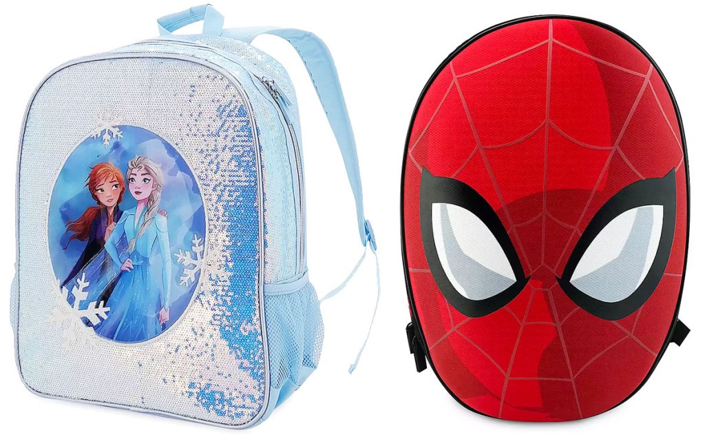 blue sequin frozen backpack and red spider-man head shaped backpack