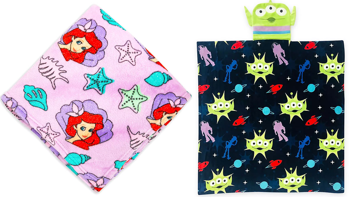 little mermaid and toy story alien throw blankets