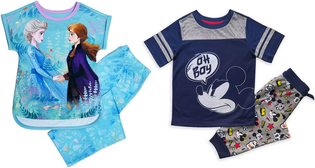 frozen and mickey mouse kids pajama sets