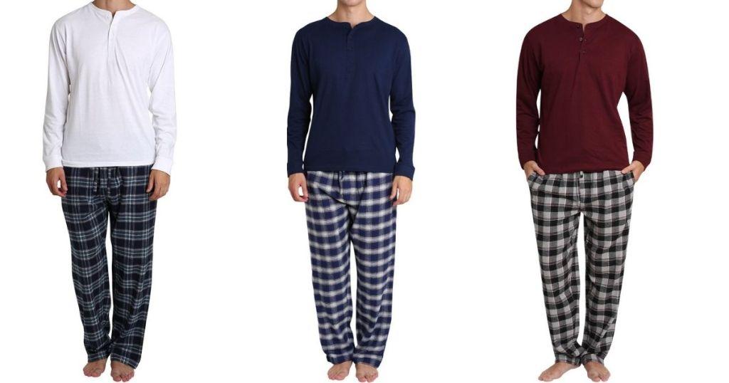 three men wearing pajamas