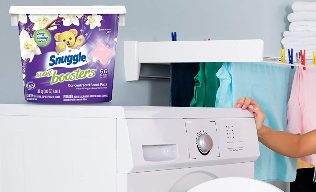 Snuggle Scent Booster container on top of a washing machine