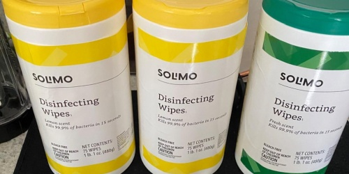 Solimo Disinfecting Wipes 75-Count Canister 3-Pack Only $7.78 Shipped on Amazon | Just $2.59 Each