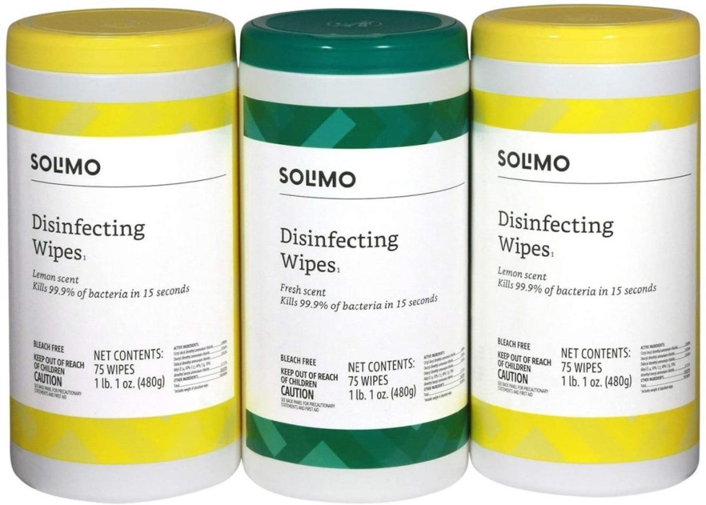 three canisters of disinfectant wipes