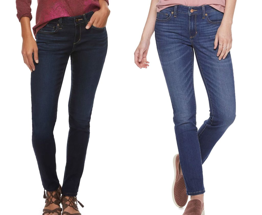 two women modeling jeans in dark and medium washes