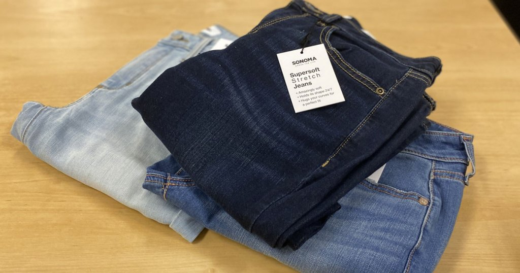 three pairs of women's sonoma jeans stacked on top of each other