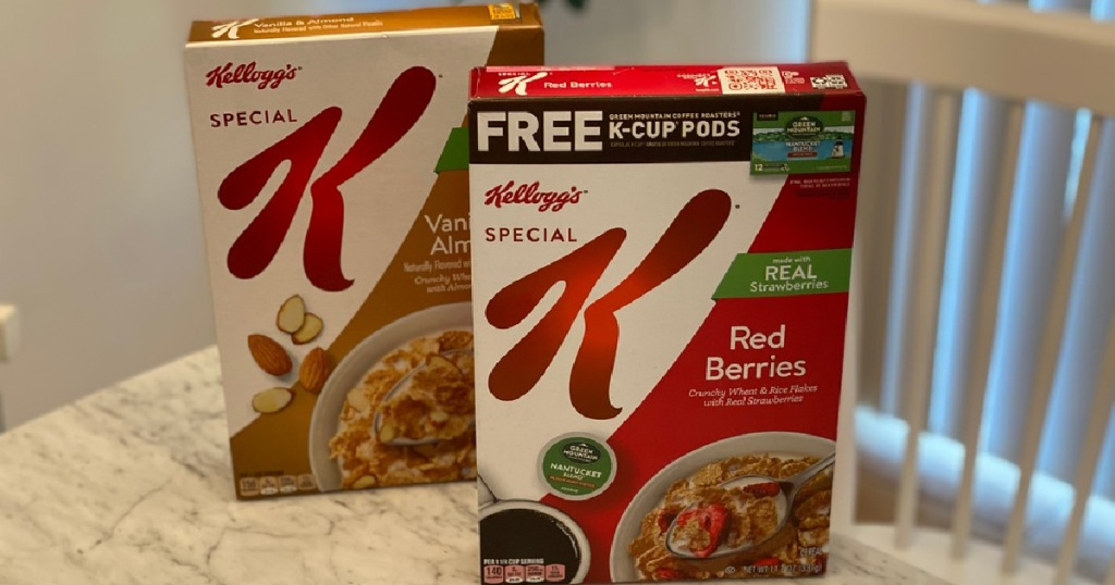 two boxes of cereal on table