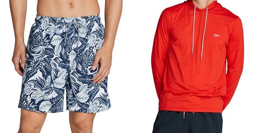 man wearing swim shorts next to a man in a sweatshirt