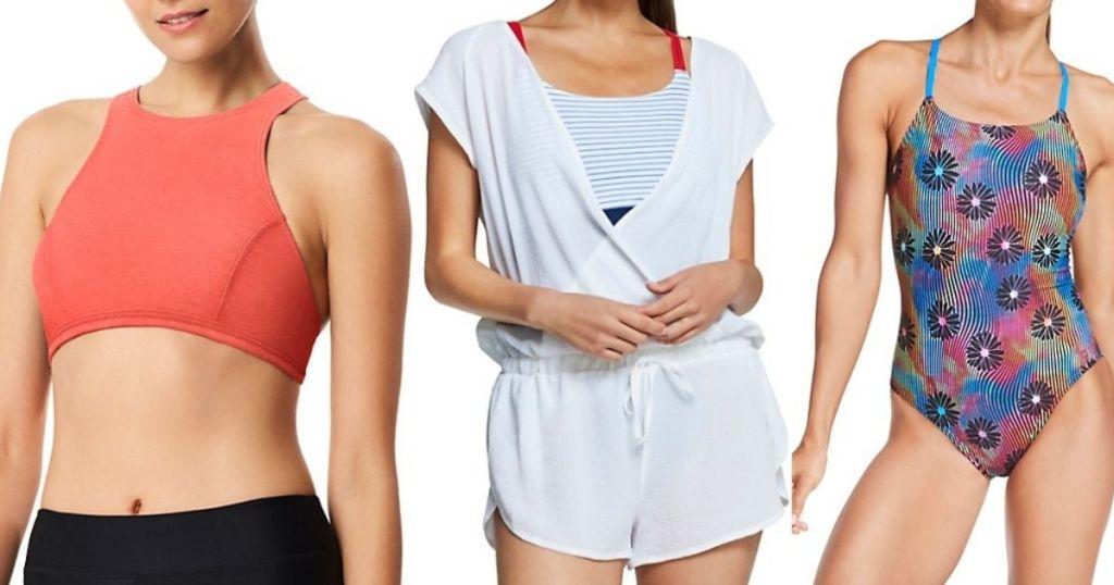 three women wearing Speedo swimwear