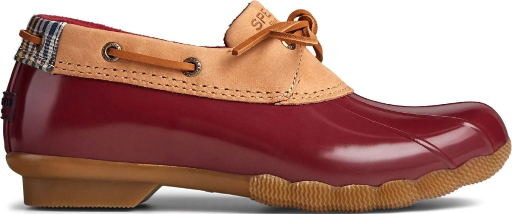 short Sperry boot with tan and red