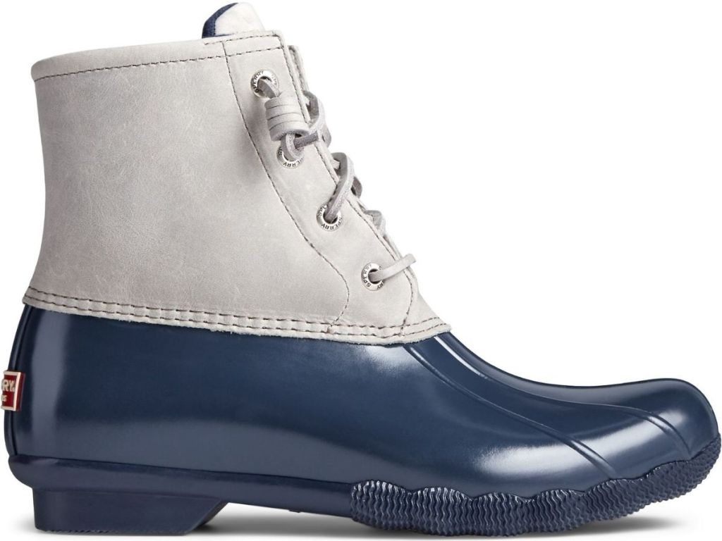 gray and blue duck boots