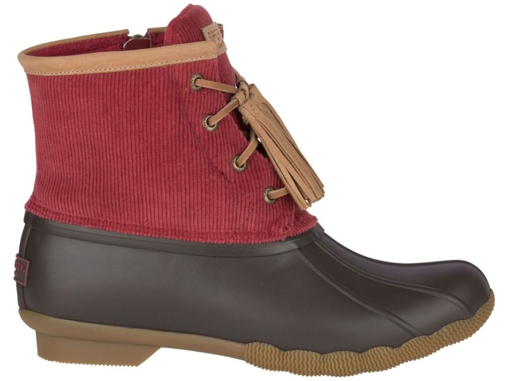 red corduroy duck boots