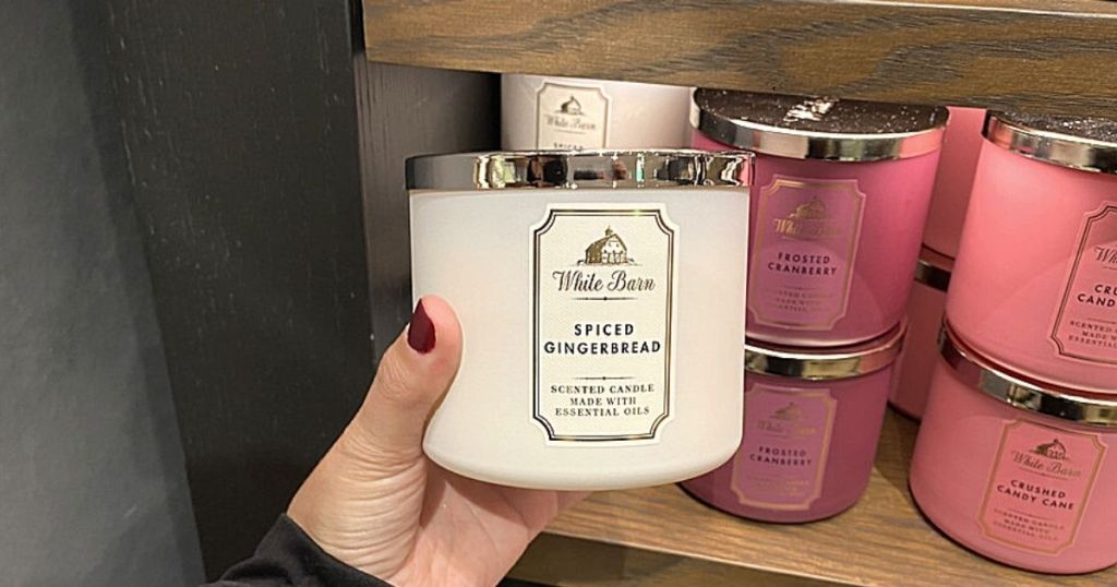 hand holding Spiced Gingerbread candle