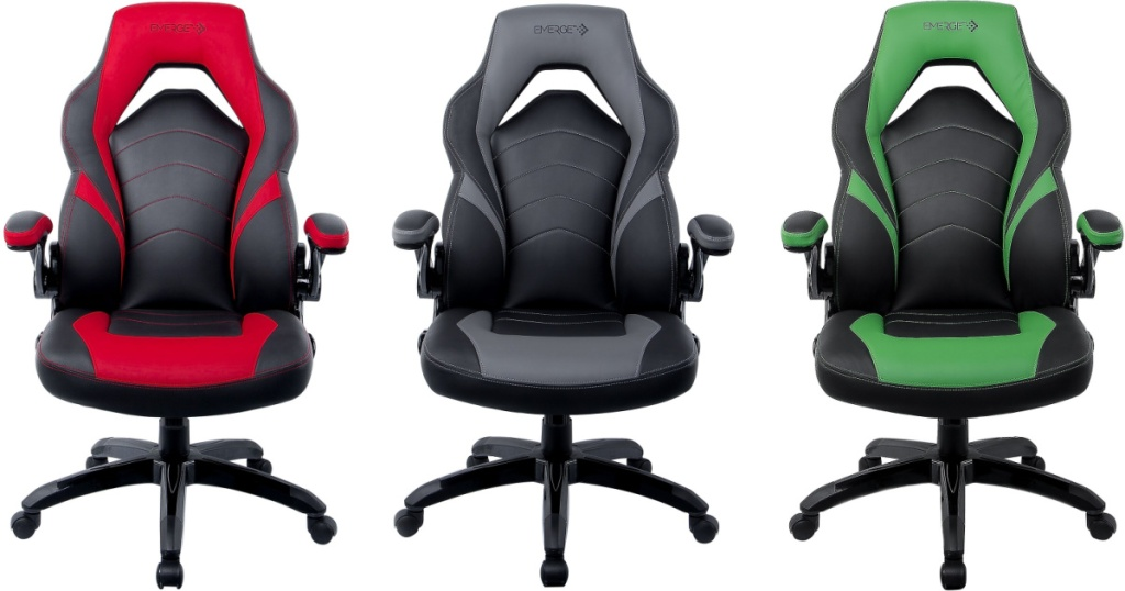 Three gaming chairs in different colors