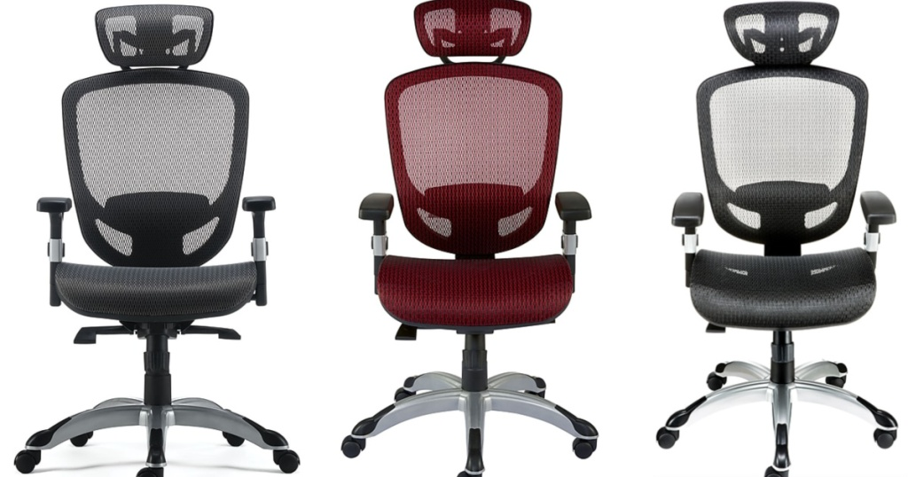 3 Staples Hyken Mesh Computer/Desk Chair sitting next to each other