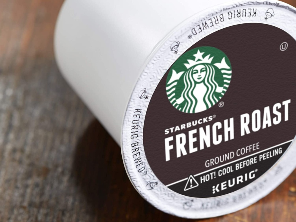 french roast coffee pod on wood table