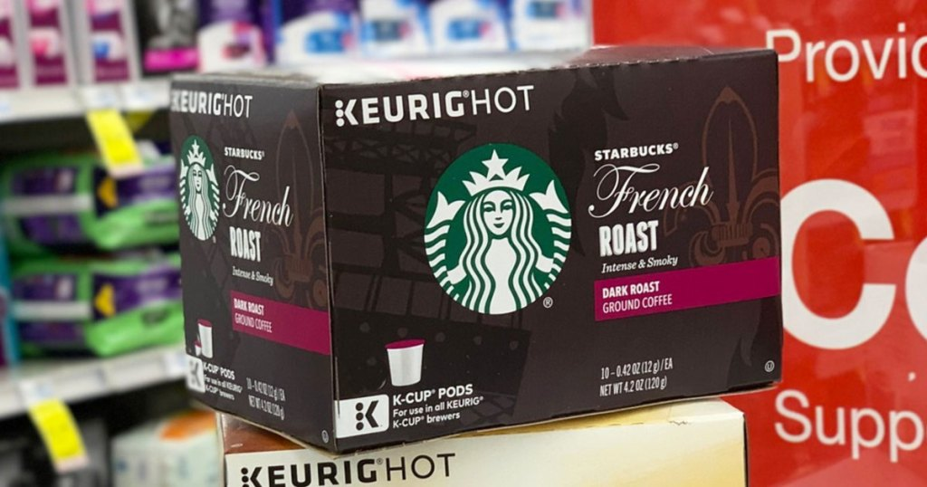 brown box of starbucks french roast coffee pods