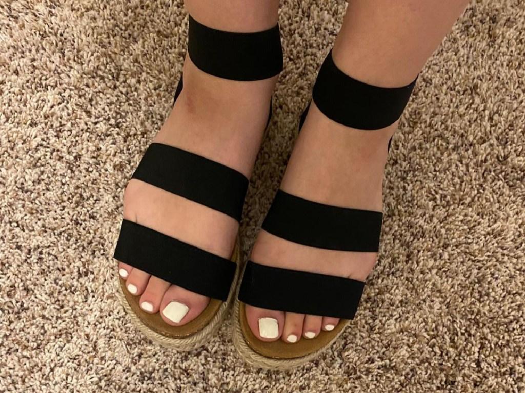 Steve Madden Women's Kimmie Espadrille Wedge Sandals in Black