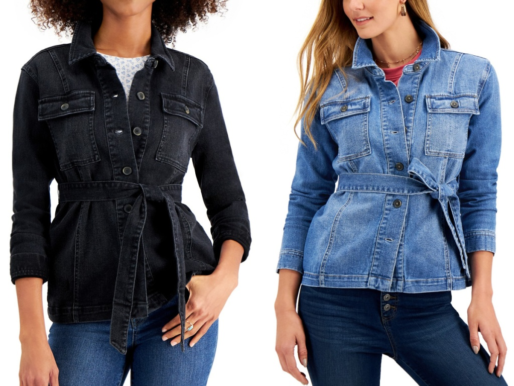 two women wearing blue and black Style & Co Belted Shirt Denim Jacket