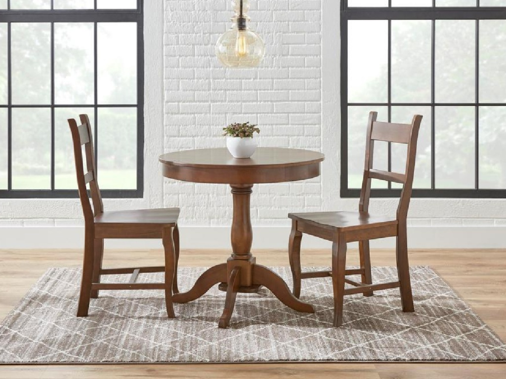 StyleWell Walnut Finish Round 3-Piece Dining Set