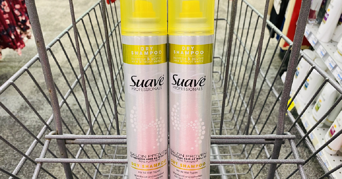 two dry shampoos in store cart