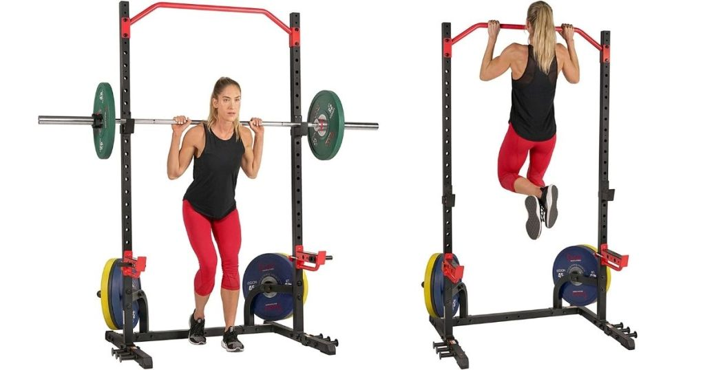 woman lifting a barbell with weights and a woman doing pull ups