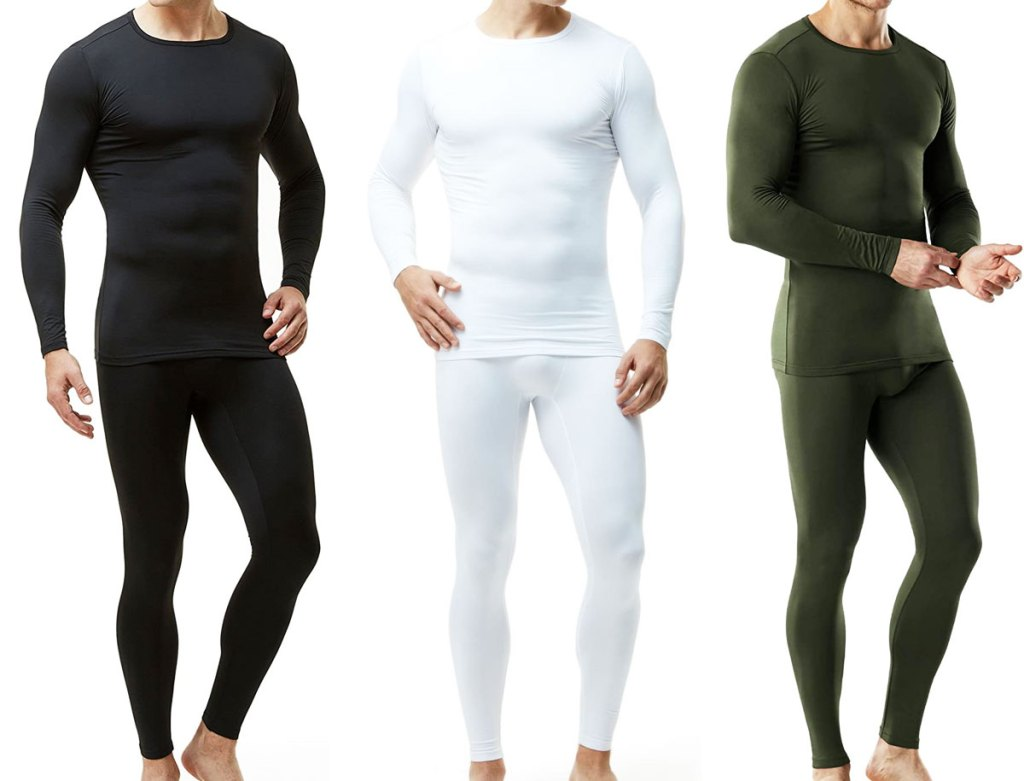 three men modeling thermal underwear sets in black, white, and olive green colors