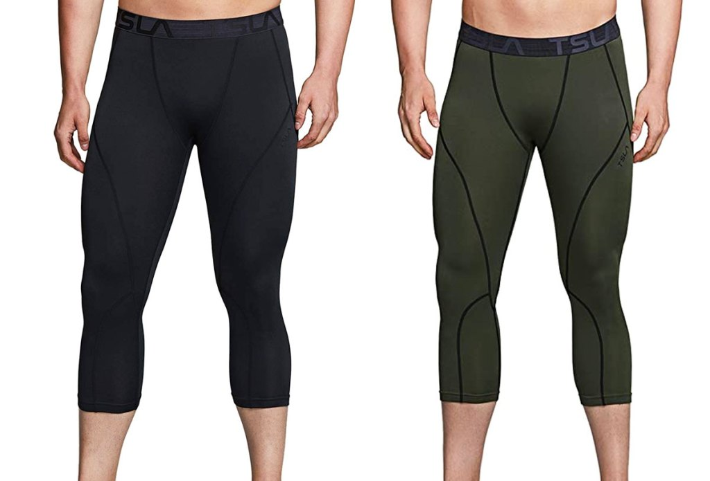 two men modeling compression pants in black and olive green colors