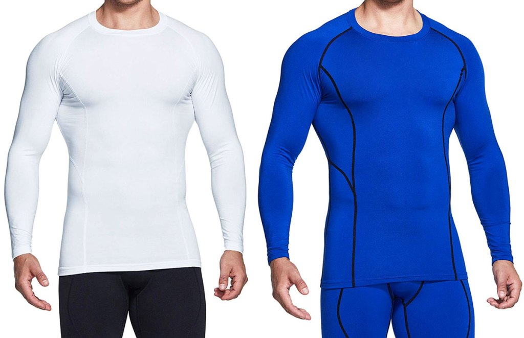 mens compression base layer shirts in white and blue